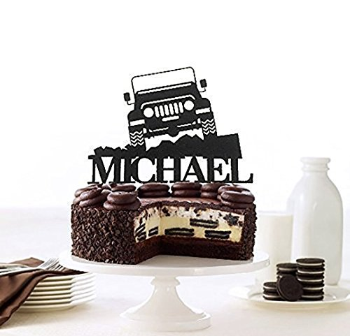 KISKISTONITE Off Road Jeep Cake Toppers Happy Birthday Name Customized |Truck Theme Birthday Personalized Cake Decoration Favors Party Cake Decorating Supplies