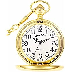 Jechin Classic Pocket Watch - Gold, Hunter Case, 14'' Chain, Comes in Elegant Gift Box