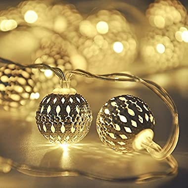Cmyk® Battery Operated Silver Moroccan Orb LED Fairy Lights with 40 Warm White Leds, Ambiance Lighting, Great for Indoor Use in Party, Bedroom Decor (4m)