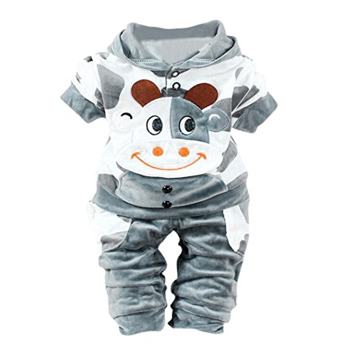 (NEARTIME Kid Clothes Set, New Newborn Baby Girls Boys Winter Cartoon Cow Warm Outfits Clothes Velvet Hooded Tops Set (Gray,)