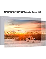 RuleaxAsi 120'' Portable Projector Screen HD 16:9 120 Inch Diagonal Frameless PVC Video Projection Screen Foldable Wall Mounted for Home Theater Office Movies Indoors Outdoors
