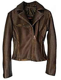 DashX Kenna-W Women's Leather Jacket Lambskin Distressed Brown