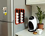Dolce Gusto Coffee 16 Pods Holder , Magnetic Red Kitchen Organizer, Minimal Design