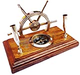 HandCrafted Premium Office Decor Pen Holders With Nautical Helmet | Ship Wheel | Navigational Compass | Home DecorativePirate's Gift | Nagina International (Polished Half Wheel)