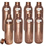 800ml / 27oz - Set of 8 - Prisha India Craft Copper New Bislery Bottle with benefited - Pitcher Bottles - Best Quality Water Bottles - Indian Water Carafe - Handmade Christmas Gift Item