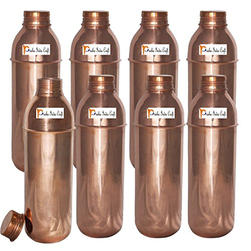 800ml / 27oz - Set of 8 - Prisha India Craft Copper New Bislery Bottle with benefited - Pitcher Bottles - Best Quality Water Bottles - Indian Water Carafe - Handmade Christmas Gift Item by Prisha India Craft