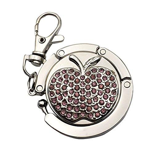 JewelBeauty Full Rhinestone Apple Pattern Folding Bag Handbag Hanger Metal Table Hook Holder Keychain Keyring (Purple)