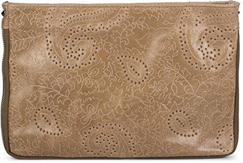 styleBREAKER bolso de piel «clutch» con relieve de cachemira y cremallera, asa, bolso de hombro, bolso de fiesta, bolso, señora 02012183, color:Azul Medianoche Marrón
