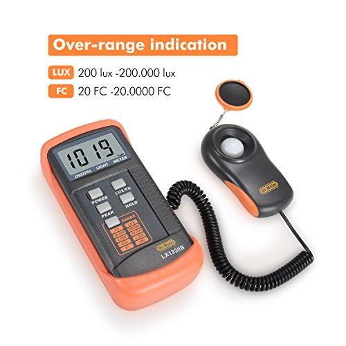 Dr.Meter LX1330B Digital Illuminance/Light Meter, 0 - 200,000 Lux Luxmeter