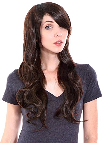 Dark Brown Wig - Simplicity Long Curly Full Wig Wavy Cosplay Party Wigs, Dark Brown