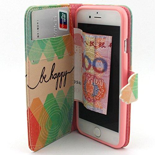 """UBMSA Iphone 6 (4,7 """")-portefeuille à rabat avec support et porte-carte de crédit rabat en cuir avec fermeture magnétique, fonction nouvellement de préhension Soft Coque de protection en TPU avec fonc"""