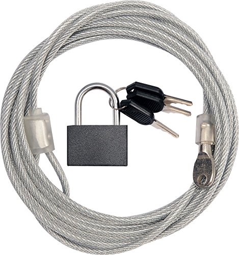 Stalen kabel met slot ommanteld 3 m x Ø 4 mm.