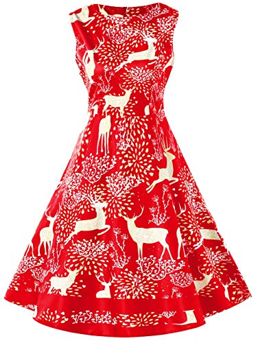 (KCatsy Christmas Elk Print Pin Up Dress Rosso Red)