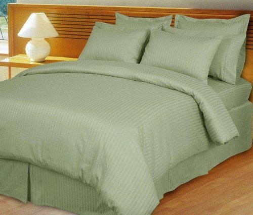 1000 Thread Count Three (3) Piece Queen Size Sage Stripe Duvet Cover Set, 100% Egyptian Cotton, Premium Hotel Quality