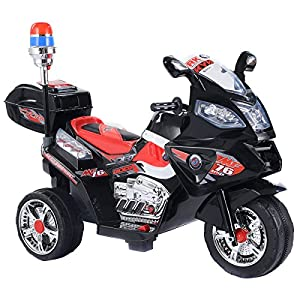 Costzon 3 Wheel Kids Ride On Police Motorcycle 6V Battery Power Electric Bicyle Black
