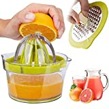 Drizom Citrus Juicer Lemon Orange Juicer Manual Hand Squeezer With Built-In Measuring Cup And Grater