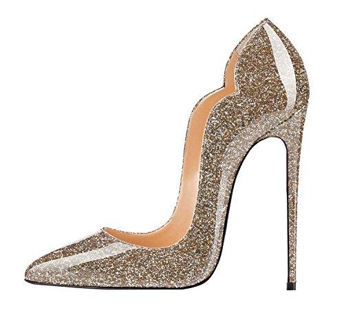 EDEFS Chiuse col Donna Davanti Heels Gold Glitter Scarpe Tacco Scarpa Classico Ritaglio High OZOrUq8gwn