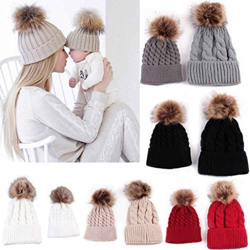 GBSELL Mom And Baby Winter Knitting Keep Warm Hat Sport Cap (Gray)