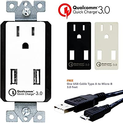 TOPGREENER TU1152QC3 Quick Charge 3.0 Dual USB Wall Charger Outlet, 2 QC3.0 Ports Hub for LG G5, HTC 10, Nexus, Iphones, Ipad, Tablet |Qualcomm Certified