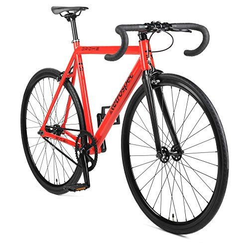 Retrospec by Westridge Retrospec Bicycles Drome Fixed-Gear Track Bike with Carbon Fork, Red, 58cm/Large (Track Frame Leader)