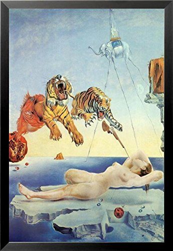 Buyartforless Framed Dream Caused by The Flight of a Bee a Second Before Awakening by Salvador Dali 30.5x20.75 Art Print Poster Museum Master Famous Painting Tigers Nude Woman Elephant Gun