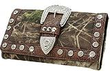 Western Camouflage Camo Belt Buckle Women Wallet Rhinestones Brown Trim D2, Bags Central