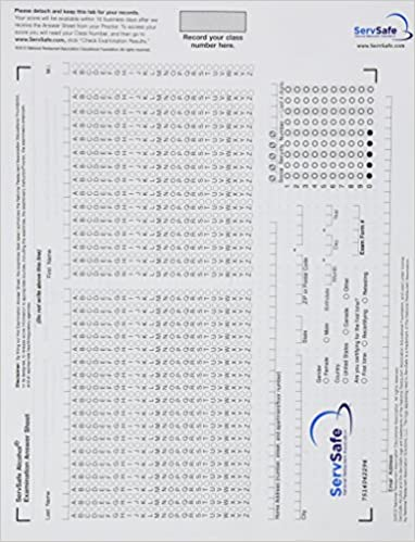 Exam Answer Sheet For ServSafe Alcohol Fundamentals Of