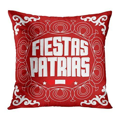 Rng Big Throw Pillow Cover Fiestas Patrias National Holidays Spanish Text Peru Patriotic Celebration Peruvian Flag Color Decorative Pillow Case Home Decor Square 18