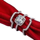 Mini World 3 Carat G-H Cushion Princess Cut Synthetic Diamond 3PC Engagement Wedding Ring Sets