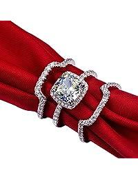 Mini World Luxury New Bridal Set Wedding Rings Sets 3 Carat G-H Cushion Princess Cut Best Quality NSCD Synthetic Diamond 3PC ring sets