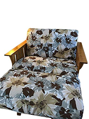 OctoRose Canvas Blue Mix Flower and Bonded Micro Suede Reversible 3 Side Zipper Futon Chair Ottoman Cover 39x21+6