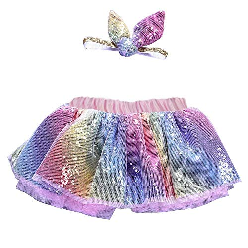 residentD Xmas GIift Girls Set Party Dance Ballet BlingSkirt+Ears Headband Ball Gown4Y-8Y (3-4 Years, Multicolor) -