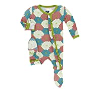 Kickee Pants Little Girls Print Muffin Ruffle Footie with Snaps - Tropical Flowers, Newborn