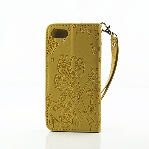 Voguecase® Pour Apple iPhone 7 Coque, Étui en cuir synthétique chic avec fonction support pratique pour Apple iPhone 7 (fille papillon-diamant-Jaune)de Gratuit stylet l'écran aléatoire universelle