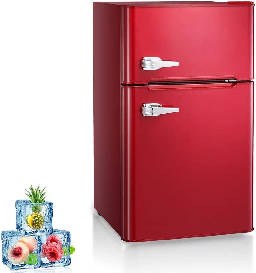 Kismile Double Door 3.2 Cu.ft Compact Refrigerator with Top Door Freezer,Freestanding mini Fridge with Adjustable Temperature,Upright Freezer for Apartment,Home,Office,Dorm or RV (Red, 3.2 Cu.ft)