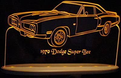 1970 Super Bee with Spoiler Acrylic Lighted Edge Lit LED Sign / Light Up Plaque 70 VVD7