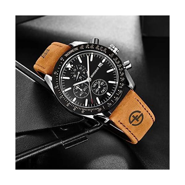 BERSIGAR Mode Montre décontractée Montre à Quartz analogique pour Homme, Montre-Bracelet à chronographe