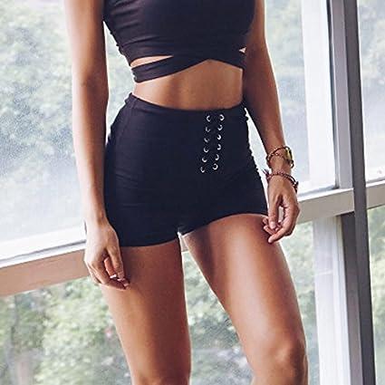 d56665712a07f MAYUAN520 Super Cute Yoga Tie Shorts Womens Stretchy High Waitsed Hot Yoga  Shorts Grey Leaf Printed
