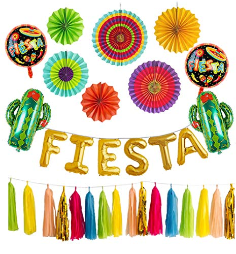 Fiesta Party Decorations Foil Balloons Backdrop Kit Balloon Banner Cactus Backdrop Mexican Fiesta Taco Centerpieces Paper Fans Flower Tassel -