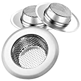 "Helect 3-Pack Kitchen Sink Strainer Stainless Steel Drain Filter Strainer with Large Wide Rim 4.5"" for Kitchen Sinks"