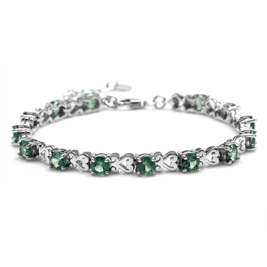 Simulated Color Change Alexandrite 925 Sterling Silver Heart Victorian Style 7-8.5'' Adj. Bracelet