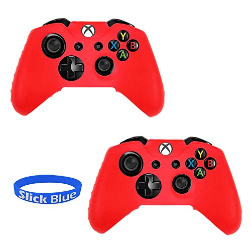 2 X Soft Silicone Gel Rubber Grip Controller Protecting Cover For Xbox One - Red