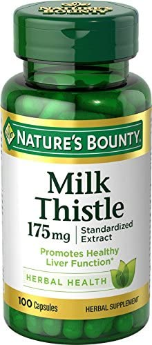 Nature s Bounty Milk Thistle Pills and Herbal Health Supplement, Supports Liver Health, 175mg, 100 Softgels
