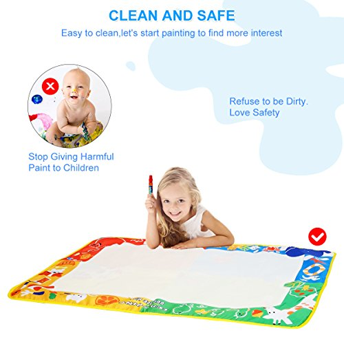 Aquadoodle Mat, Kids Toy Large Water Doodle Mat 39.5'' X 28'' with 3 Magic Pens 2 Drawing Molds, Kids Educational Learning Toy Gift for Boys Girls Toddlers Age 2 3 4 5 Years Old Toddler Toys by Niolio (Image #4)