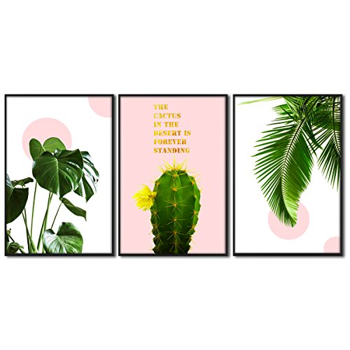 Canvas Wall Art Leaf Tropical Rainforest Green Plant Landscape Series Cactus with Pink Contemporary Pictures 16