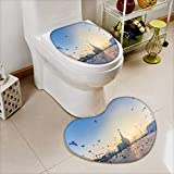 Printsonne Heart shaped foot pad 2 Pieces Set flying doves over fanar qatar islamic cultural center in doha in Bathroom toilet Mats