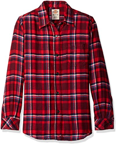 Dickies Big Girls' Long Sleeve Flannel Shirt, Poinsettia/Burgundy Plaid, - Shirt Big Flannel Plaid