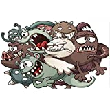 iPrint 3D Floor/Wall Sticker Removable,Kids,Cute Monsters Reunioun Fictional Scary Fun Characters Humor Graphic,Umber Cream Reseda Green,for Living Room Bathroom Decoration,35.4x23.6