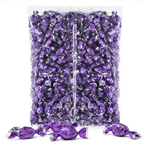 Color Themed Hard Candy - Bulk 4 Pound Bag of Purple Color Foil Mini Candies Individually Wrapped Grape Fruit-Filled Flavored Candy (Kosher, About 940 -