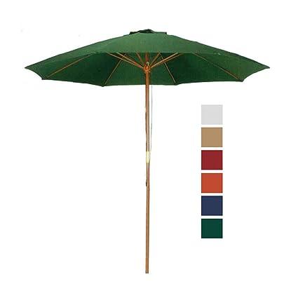 9 Ft Hunter Green Patio Umbrella Outdoor Wood Market Umbrella